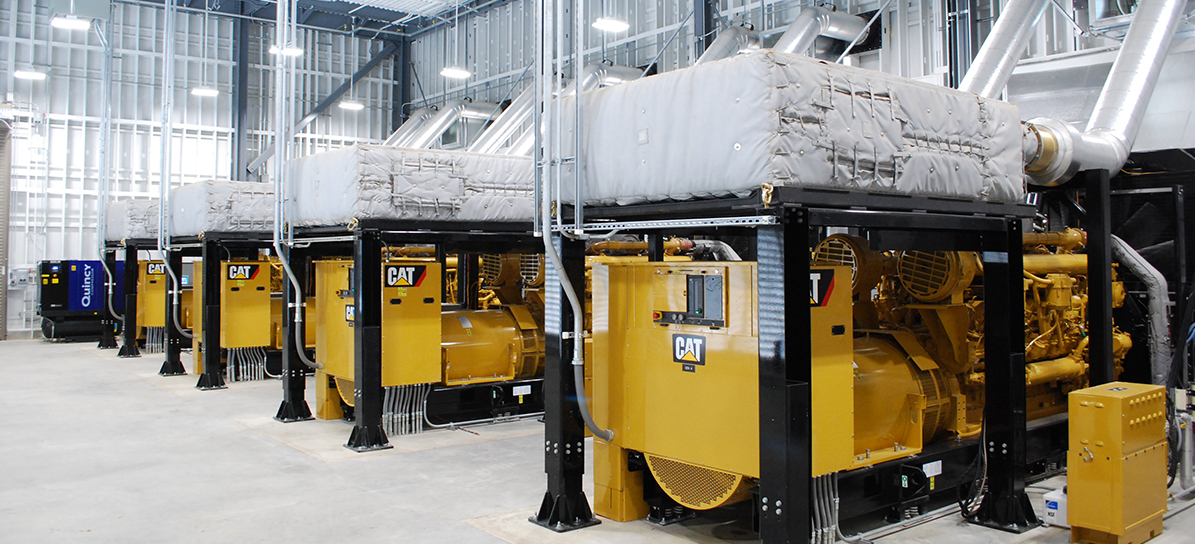 Line of CAT Engine Generators in a powerhouse at Omohundro Waste Water Plant