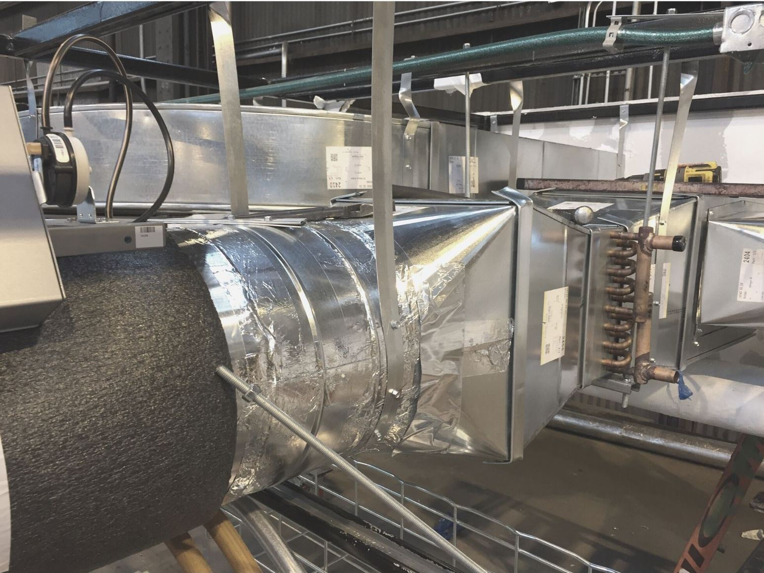 Ductwork in an HVAC ventilation system